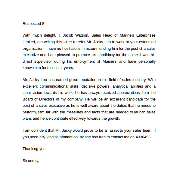 work reference letters u2013 samples  examples  u0026 formats