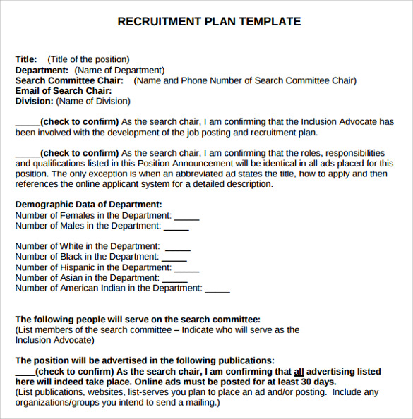 Sample Recruitment Plan Templates   Free Documents In Pdf