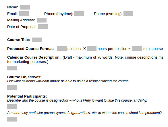 course proposal template