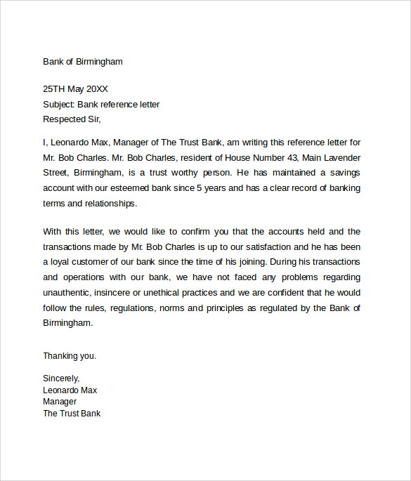 Bank Reference Letter 5 Free Samples Format Examples – Sample Reference Letter for Business