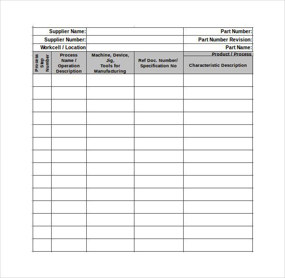 sample control plan templates