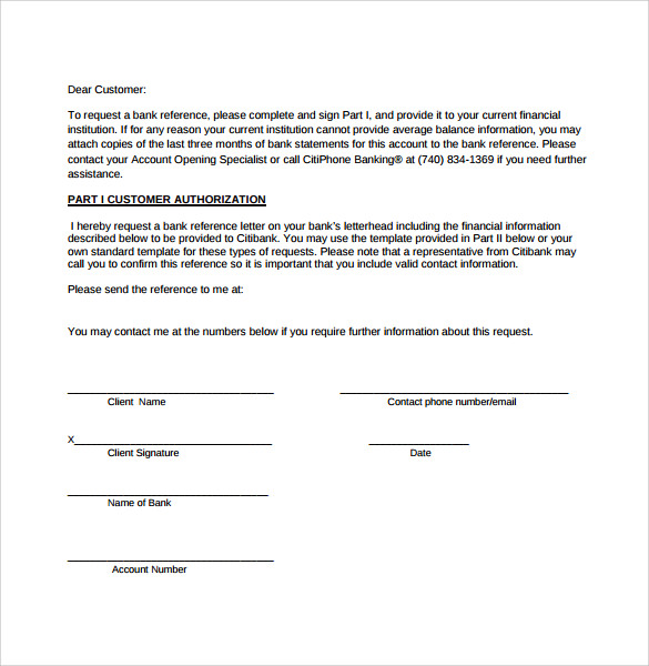 Bank Reference Letter 5 Free Samples Format Examples – Bank Reference Letter Sample