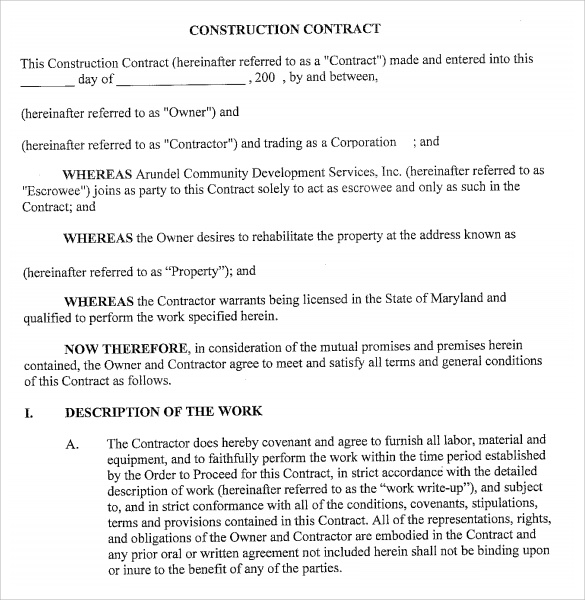 Sample Contract Templates 6 Download Free Documents In PDF – Contractor Proposal Template