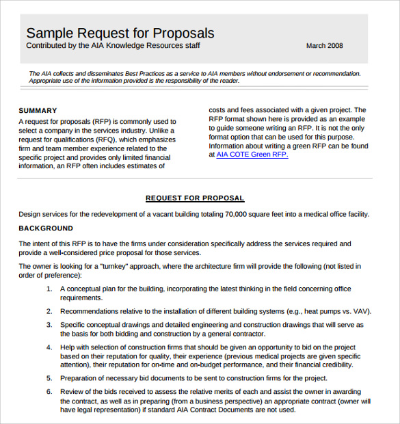 Sample Contractor Proposal Templates Download For Free Sample - Aia contract template