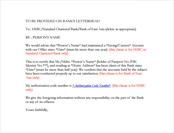 Bank Reference Letter   Free Samples  Format  Examples