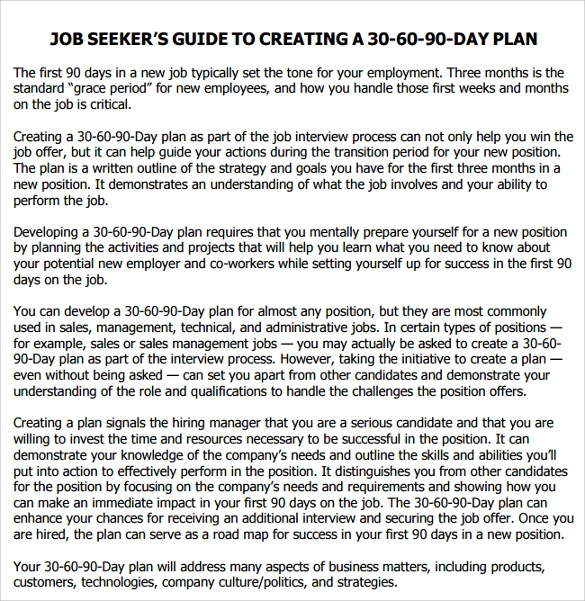 Sample 90 Day Plan - 11+ Documents In Pdf30 60 90 Day Plan. 30 60