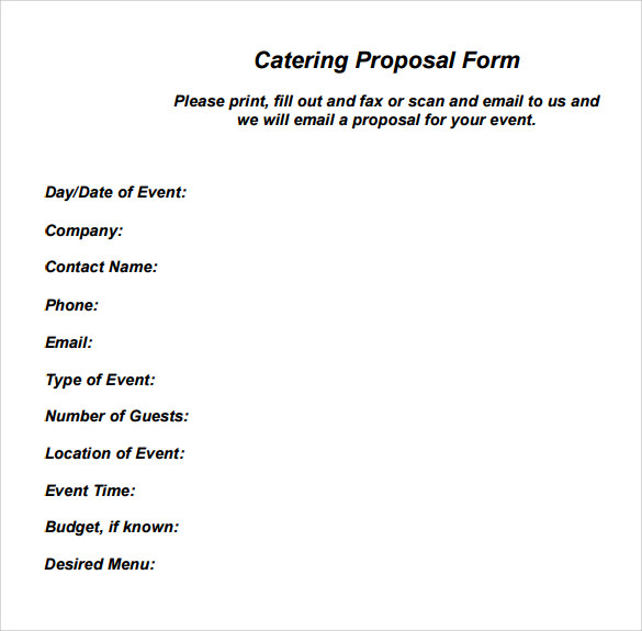 Sample Catering Proposal - 5+ Examples & Format