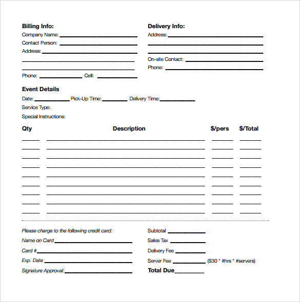 Sample Catering Proposal   Examples  Format
