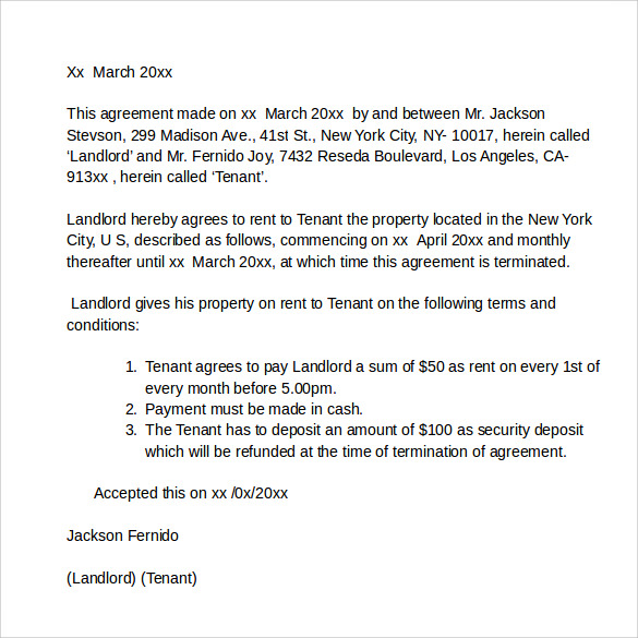 Sample Rental Agreement Letter 7 Documents In PDF WORD – Basic Rental Agreement Letter Template
