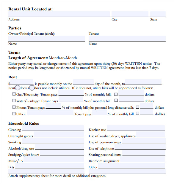 room rental agreement resume template