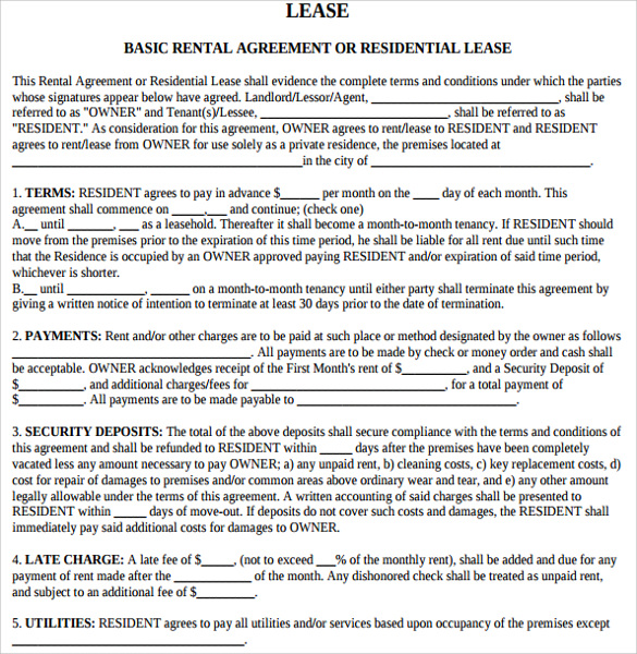 Sample Rental Agreement Letter   Documents In Pdf Word