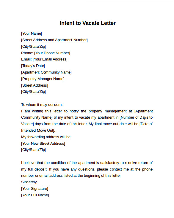 Beau Intent To Vacate Letter Template