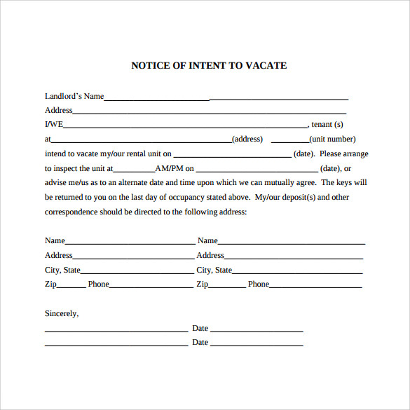 intent to vacate letter  u2013 7  free samples  examples  u0026 formats