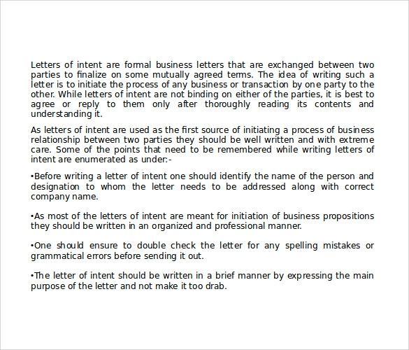 tips for writing national letter of intent