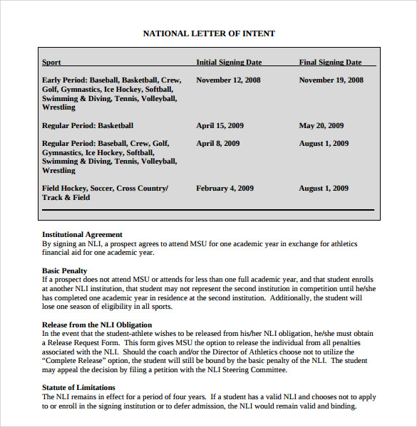 ncaa letter of intent 8 national letter of intent templates samples examples 23755 | National Letter of Intent Rules Template