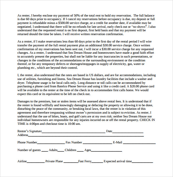 example of room rental agreement