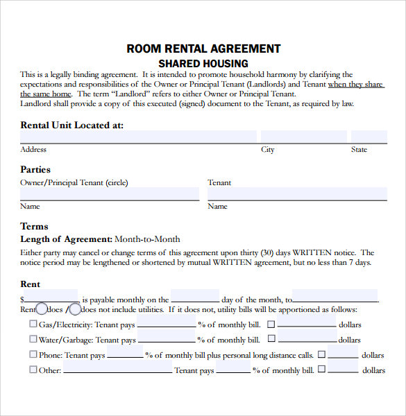 Residential Room Rental Agreement  Lease Agreement Copy