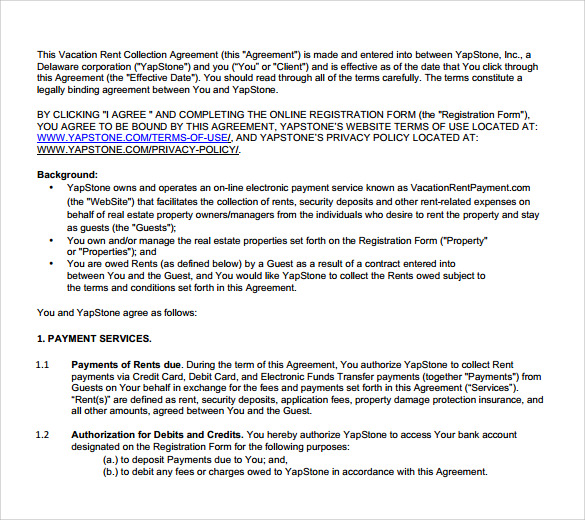 Sample Vacation Rental Agreement Template Sample Vacation Rental