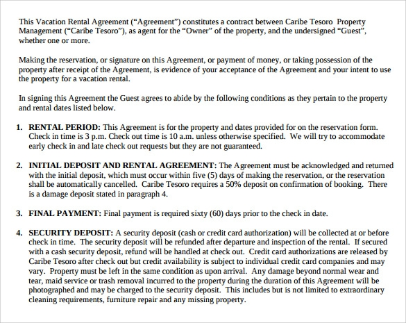 8 Sample Vacation Rental Agreements Pdf Word