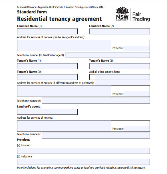 13 sample residential rental agreements sample templates for Standard tenancy agreement template