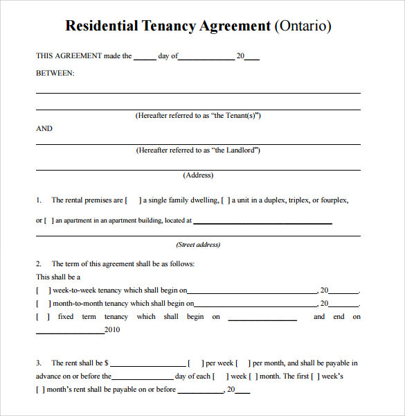 Residential Room Rental Agreement Form Ontario
