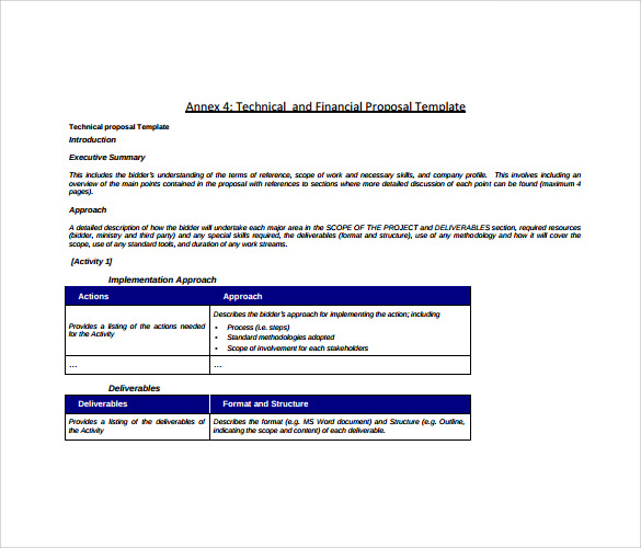 Sample Technical Proposal - 7+ Example, Format