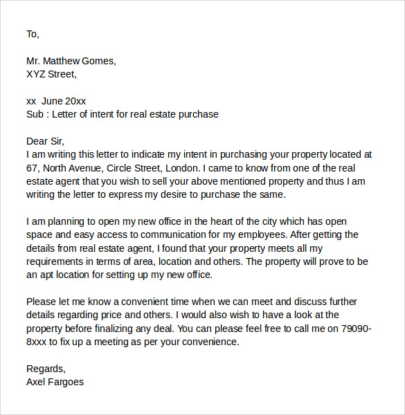 sample letter of intent to purchase real estate