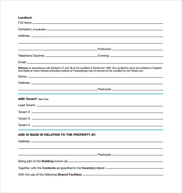 Sample Standard Rental Agreement   Documents In Pdf Word