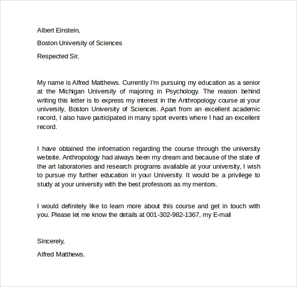Letter Of Intent Graduate School  Free Samples Examples  Formats