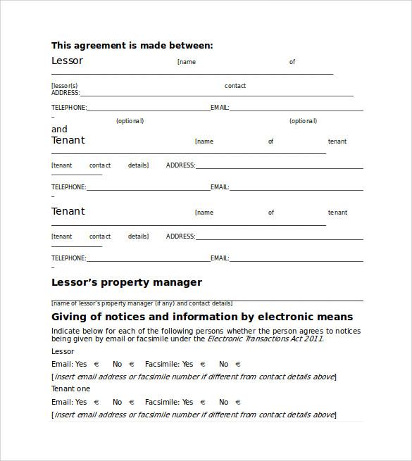 standard house rental agreemen
