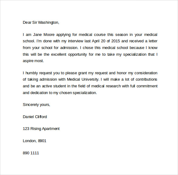 Medical school letter of interest gallery letter format formal sample 8 letter of intent graduate school samples examples formats letter of intent gradual medical school expocarfo spiritdancerdesigns Images