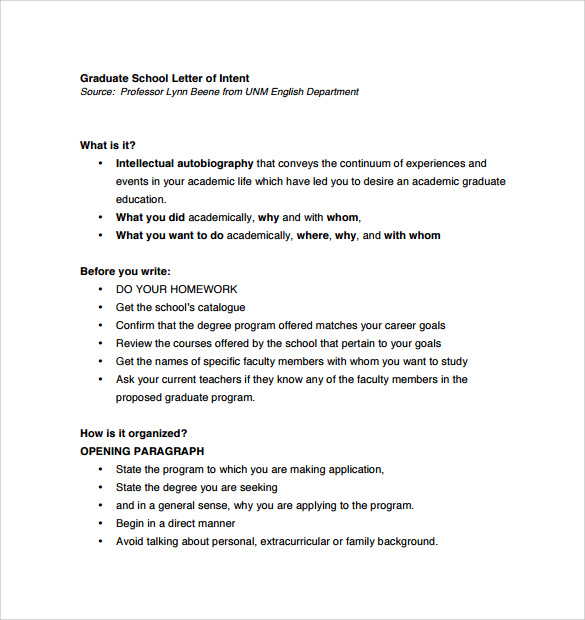 Letter Of Intent Graduate School 7 Free Samples