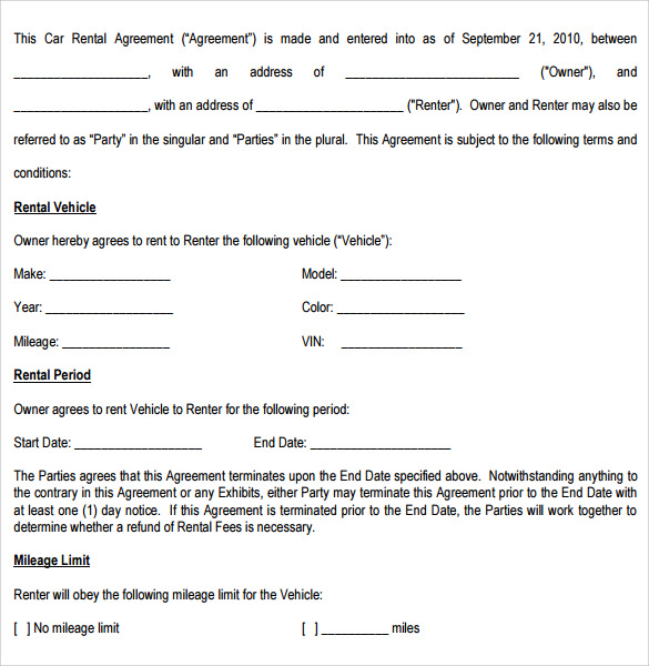 Sample Car Rental Agreement 6 Documents In PDF Word – Auto Rental and Lease Form