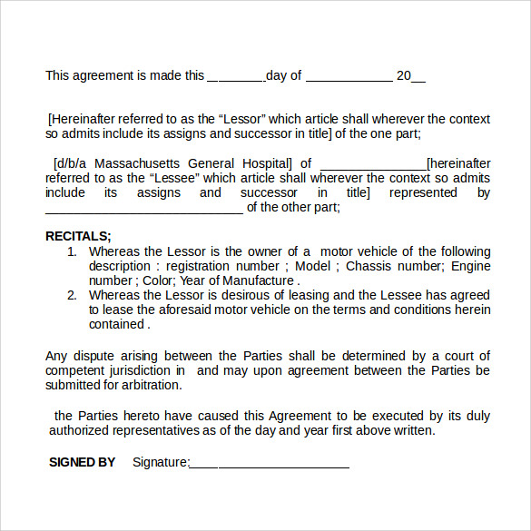 car rental agreement doc