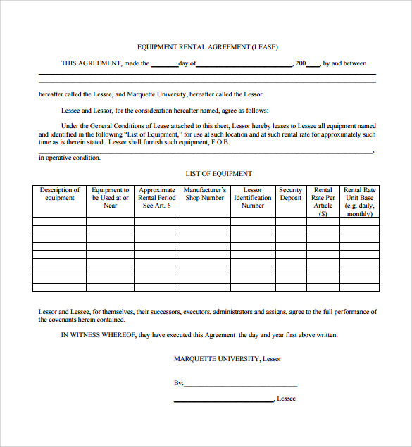 Sample Equipment Rental Agreement (Lease)