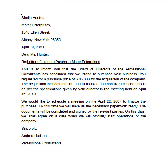 sample letter of intent to buy property