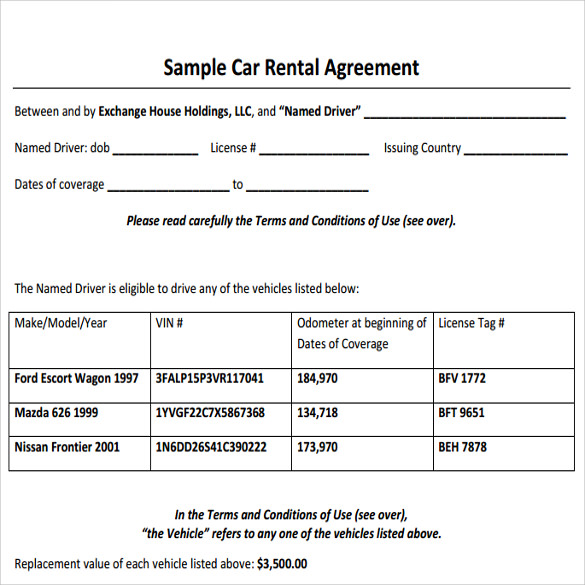 Sample Car Rental Agreement   Documents In Pdf Word