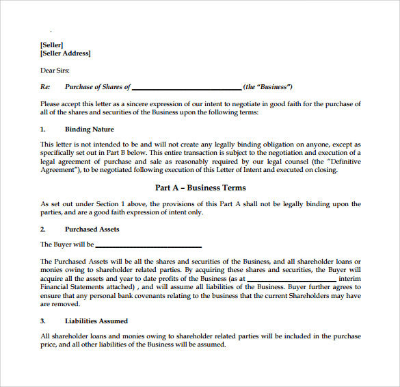 letter of intent to purchase 9 letter of intent to purchase business samples 22986