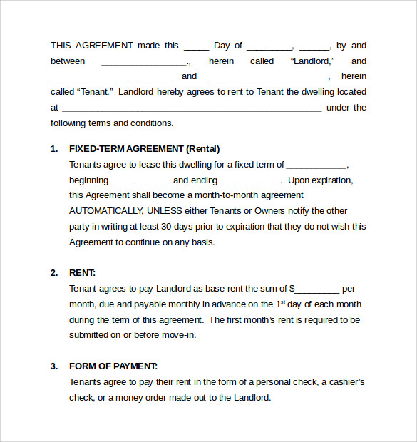Sample Monthly Rental Agreement   Documents In Word Pdf