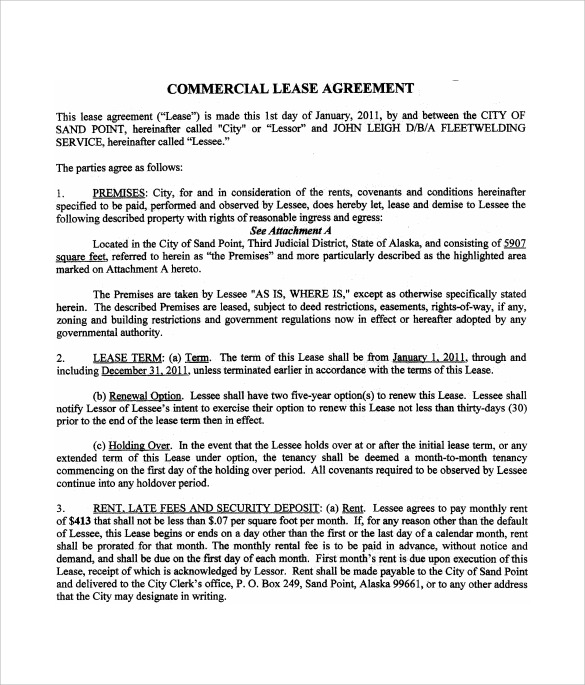 commercial lease agreement to download