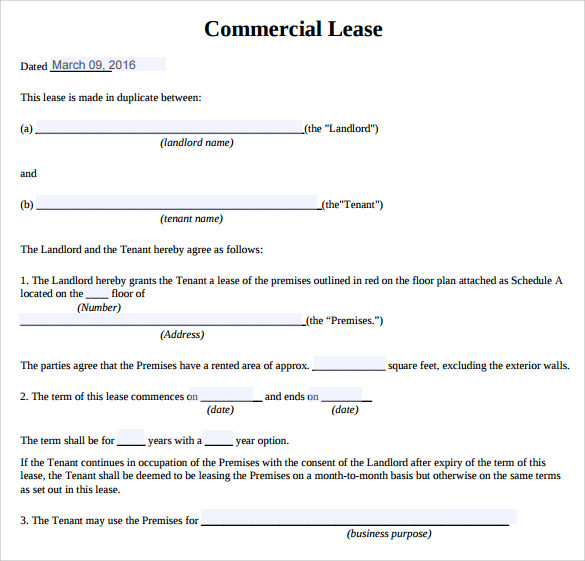 sample commercial lease agreement 9 example format. Black Bedroom Furniture Sets. Home Design Ideas