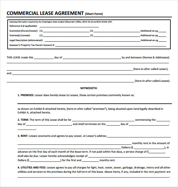 Sample Commercial Lease Agreement – 9+ Example, Format