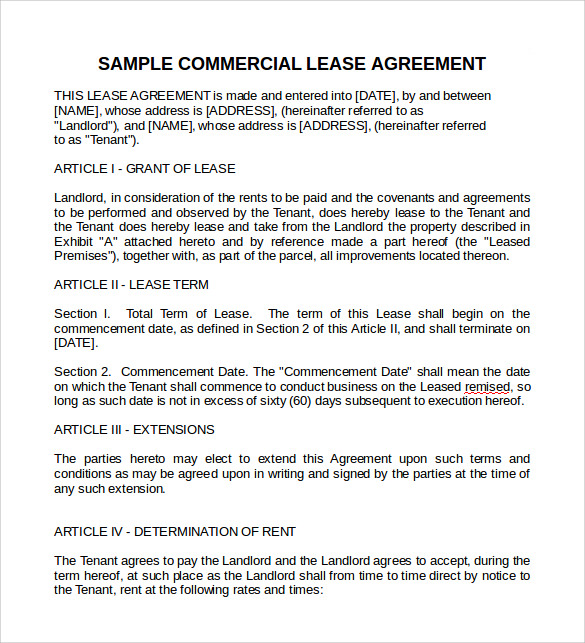 Sample Commercial Lease Agreement 9 Example Format – Sample Commercial Lease Agreements