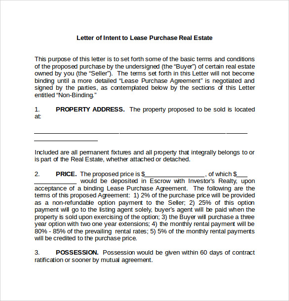 Letter of Intent to Purchase 7 Free Samples Examples Formats – Lease Letter of Intent Sample
