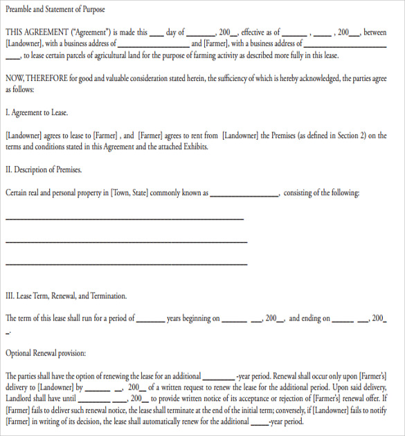 Sample Basic Lease Agreement