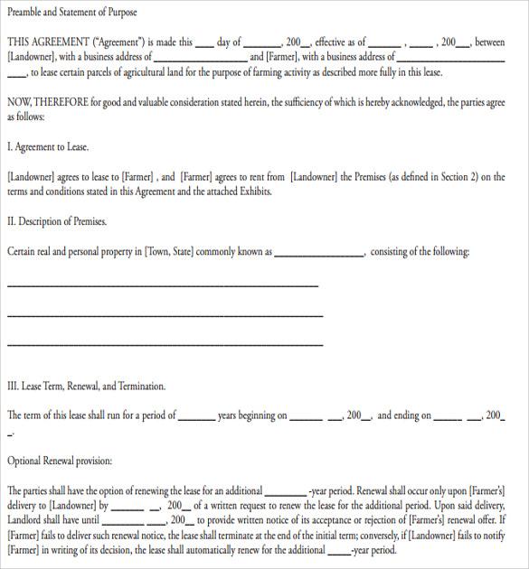 sample lease agreement