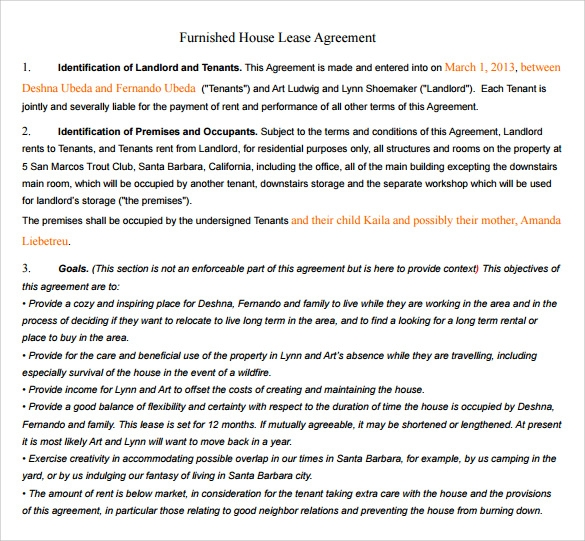 House Lease Agreements   Free Samples Examples  Formats