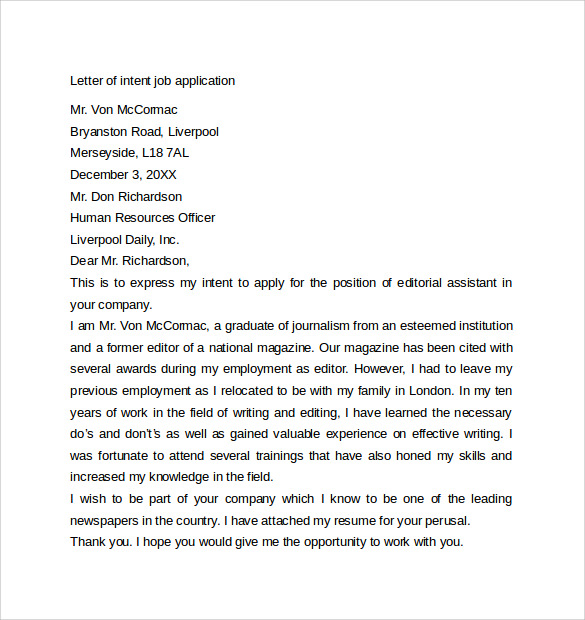 downloadable letter of intent for employment