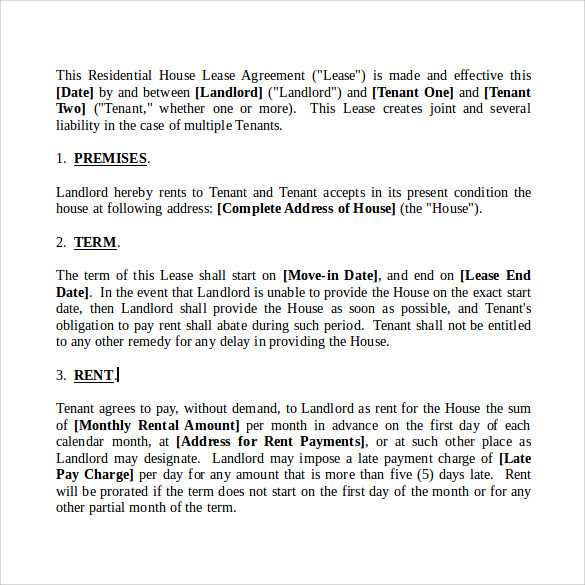 house lease agreement in word