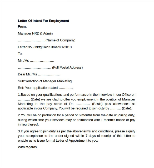 letter of intent for employment